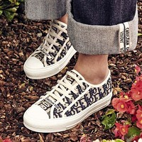 Bunchsun Dior Retro Popular Women Leisure Canvas Flat Sport Shoes Sneakers