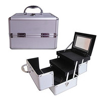 "BerucciTM Professional Silver 10"" Lightweight Aluminum Makeup Artist Organizer Kit with 2 Extendable Trays, Aluminum Trimming, Lock and Keys, and Mirror, and Shoulder Strap"