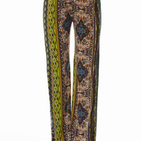 Boho Tan Tribal Print Flare Pants