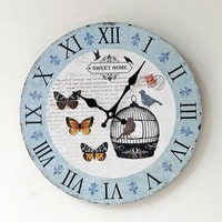 Pastoral Style Decoration Quiet Wall Sticker Home Clock [6451857670]