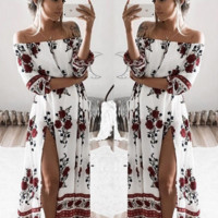 Sleeves loose printed strapless dress