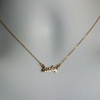 Gold Lucky Necklace - Gold Lucky Word Necklace - Gold Filled Lucky Necklace - Small Lucky Pendant Necklace