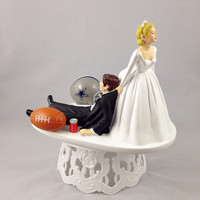 Funny Wedding Cake Topper Football Themed Dallas Cowboys Unique and Humorous Cake Toppers - Perfect Handmade Groom's Cake Toppers