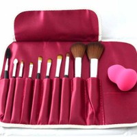 10 Kit Make Up,cosmetic Brushes Set Essential Brushes with Lovely Rose Bag,with a Free Blender Foundation Puff Sponges