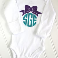 Monogrammed Bow Bodysuit - Personalized Bodysuit - Monogrammed One Piece - Baby Shower Gift - Newborn Gift - Baby Girl Clothing