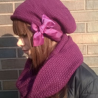 Winter Set for Women/ Women Hat and Scarf/ Tube Scarf/ Knitted Beanie/ Knitted Chunky Hats/ Winter Hats/ Warm Scarf Tube