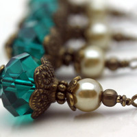Vintge Style Forest Green Crystal and Golden Pearl Bead Dangle Charm Drop Set