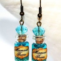 Mermaid Tears Glass Bottle Earrings Bronze Silver Gold. Pirates of the Caribbean