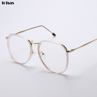 2016 New Oversized Metal Optical Eyeglasses Frame Vintage Unisex Retro Star Clear Lens Glasses Spectacles Big Oval Eyewear