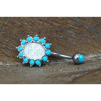Turquoise and Opal Belly Button Rings White Opal Belly Button Rings Opal Belly Rings