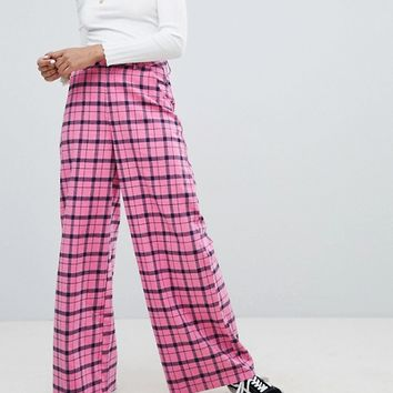 Daisy Street Wide Leg Trousers In Check at asos.com