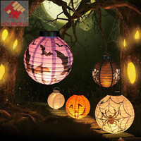 Hourong 1 Pc Halloween Decoration LED Paper Pumpkin Light Hanging Lantern Spider Ghost Bat Lamp Halloween Props Party Lamp