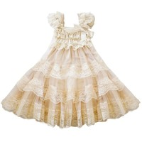 lace flower rustic Burlap girl baby country wedding flower dress