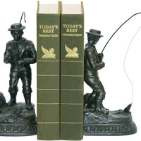 0-018094>Pair Fish On Line Bookend Black