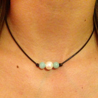 Leather Pearl Choker with Amazonite