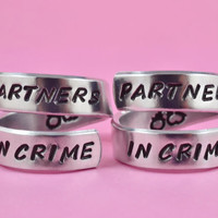 Partners in Crime - Spiral Rings Set, Hand Stamped Aluminum Rings, Friendship Rings, BFF Gift, Handwritten Font