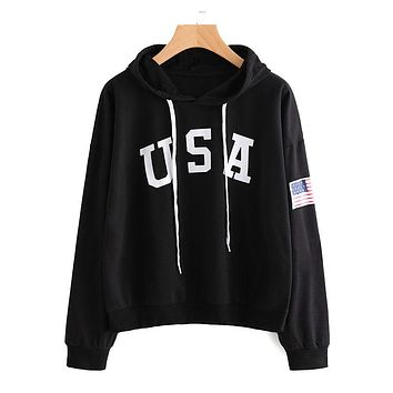 Hot Sale Classic American Flag Pattern Women Casual Hoodies