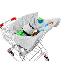 Waterproof 2-in-1 Shopping Cart Cover & High Chair Cover for Baby & Toddler in Unisex Grey with Safety Harness