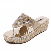 Thick Bottom Shoes Patchwork Platform Flip Flops Rhinestone Wedges Heel  Women Summer Sandals Sexy Shiny shoes slippers woman