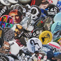 24 Indie Band Badges Mostly UK 2 Dozen Colorful by psychedelictara