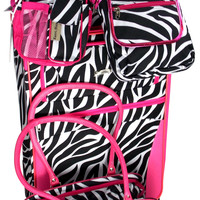 Zebra Pink 5 Pc Suitcase Travel Set Spinner Wheels Pet Carrier Messenger Gadget