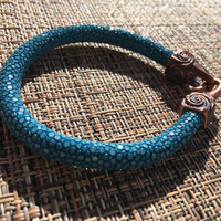 Genuine Stingray leather handcrafted bracelet, turquoise blue, bronze hook and eye, s clasp, heavy, funky, unique gift for her
