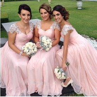 Pink Bridesmaid Dresses Long Chiffon Gown Tan Country Style Beach Maid Of Honor Party Gowns Wedding Formal Wear