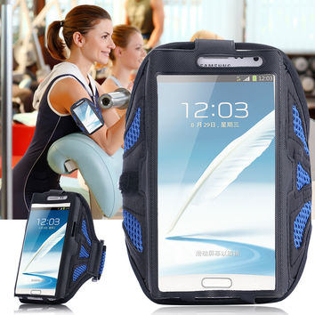 Luxury Velcro Workout Cover Sport Gym ArmBand Case For Samsung Galaxy Note 2 3 4 N7100 N9000r