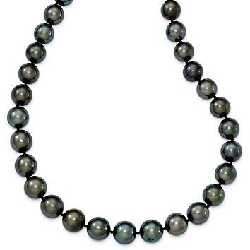 14K White Gold Saltwater Tahitian Black Pearl Necklace
