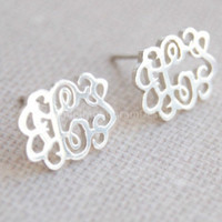"Monogram Earrings-925 Sterling Silver monogram earrings,0.5"" monogram earring studs"