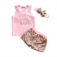 "3PC ""Birthday Babe"" Pink Outfit Gold Sequins Matching Headband"
