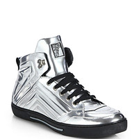 Versace Collection: Metallic Leather High-Top Sneakers