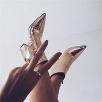 Fashion Pointed Toe Leather Half Boots High Heels Shoes