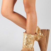 Wild Diva Lounge Melody-143A Sequin Round Toe Flat Boot