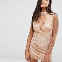 Love Triangle Lace plunge Front Mini Dress with Choker at asos.com