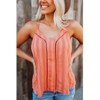 The Sienna Striped Tank (Coral)FINAL SALE
