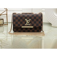 """LV""Louis Vuitton Simple and fashionable versatile printing chain shoulder bag handbag Messenger bag 3#"