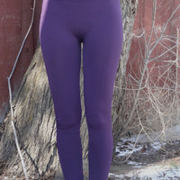High Waist Fleece Lined Leggings - Purple