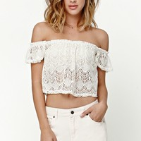 LA Hearts Allover Crochet Off-The-Shoulder Top - Womens Shirts