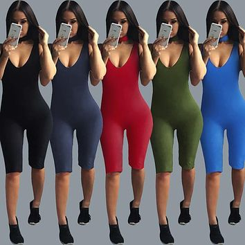 Lovely cute choker Round Neck Women Sexy Bodysuits Hot Skinny Solid Women Rompers Sleeveless Short Casual Women Jumpsuits