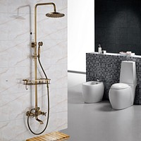 Double Handle Antique Brass Wall Mounted Shower Faucet Set with Storage Holder