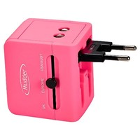 Mudder US UK EU AU Universal International Travel Power Plug Adapter Charger With 2 USB Ports 1A for Cell Phone, No Voltage Conversion (Pink)