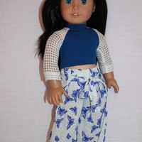 18 inch doll clothes, Harem, dance, yoga pants, and blue crop top with mesh sleeves, Upbeat Petites,  maplelea