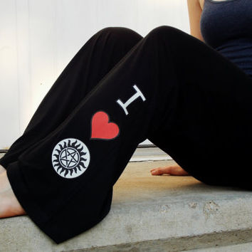 Supernatural Team Free Will Lounge Pants. Love Supernatural Yoga Style Pants. Customize Size.