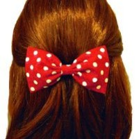 Raging Retro 40s & 50s Rockabilly Red Polka Dot Hair Bow (Alligator Clip)