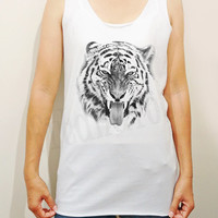 Tiger Shirts Animal Shirts Unisex Shirts Women Shirts Singlet Vest Women Tank Top Shirts Women Tunic Top Sleeves Women TShirts - Size S M L