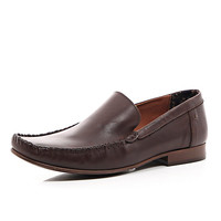River Island MensBrown leather square toe loafers