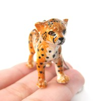 Baby Cheetah Leopard Porcelain Ceramic Animal Pendant Necklace | Handmade