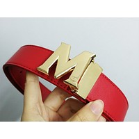 MCM Tide brand letter buckle female models smooth buckle belt red