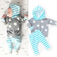 0-18M Newborn Infant Baby Girls Boys Clothes Star Hooded Top + Striped Pants Leggings 2pcs Outfit Bebek Kids Clothing Set